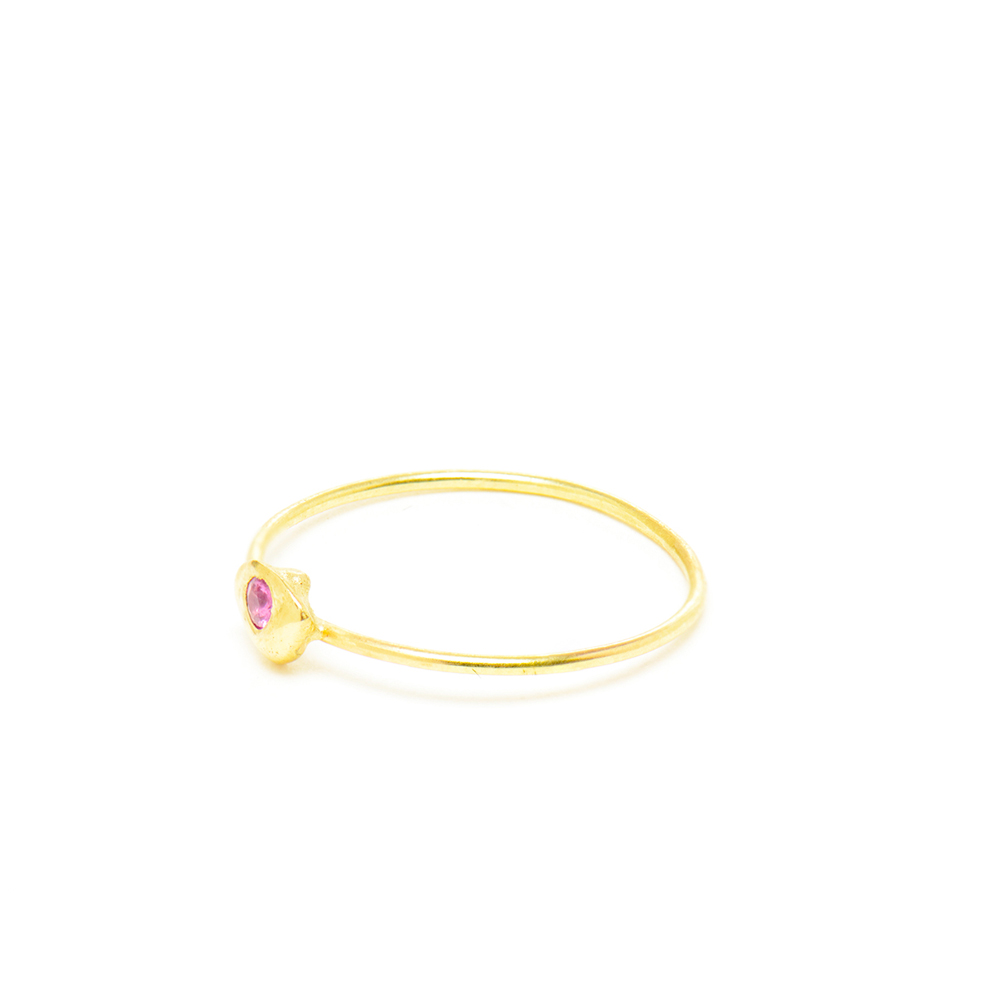 Small Nugget Pink Sapphire Stacking Ring