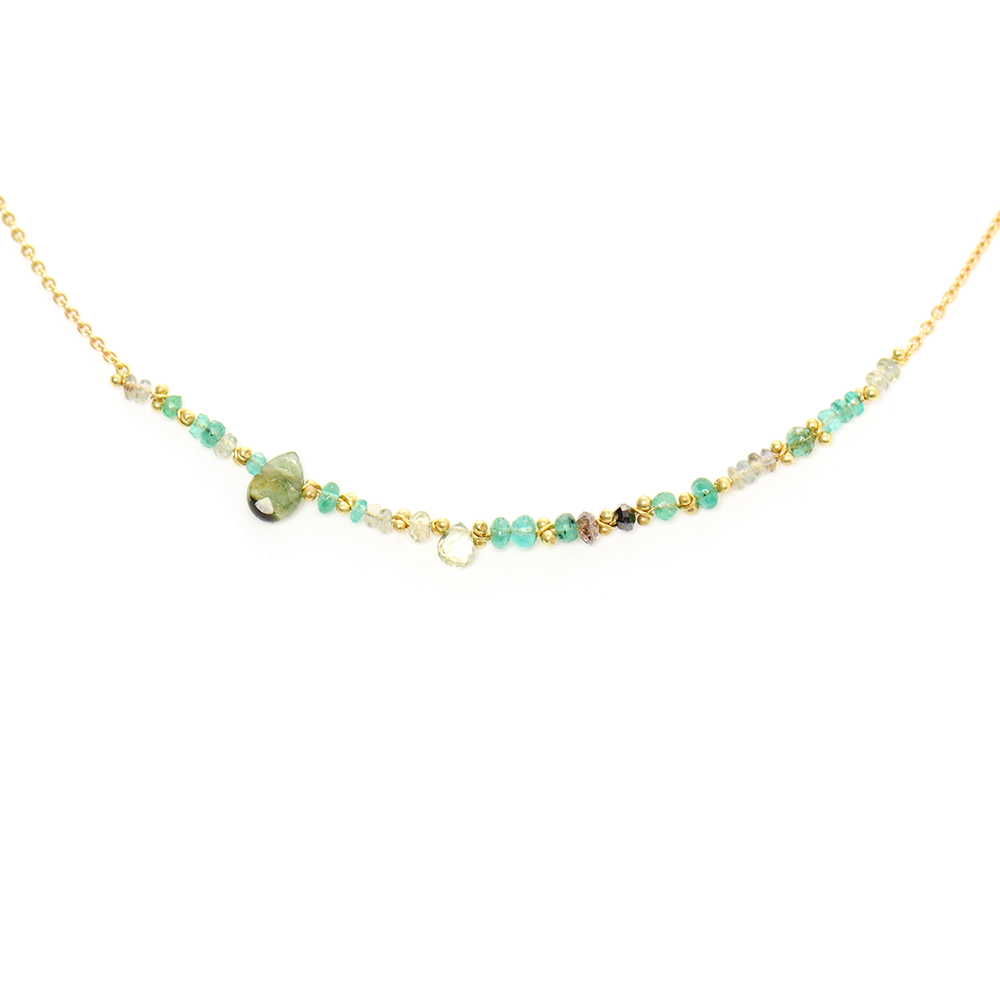 Emerald & Grey Sapphire Necklace