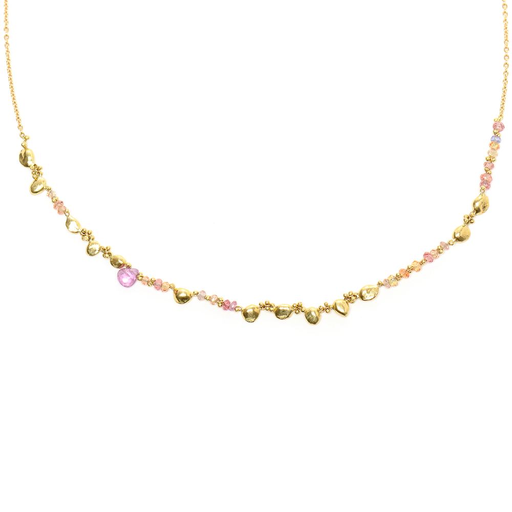 Rock-fall Pin Peach Sapphire Story Necklace
