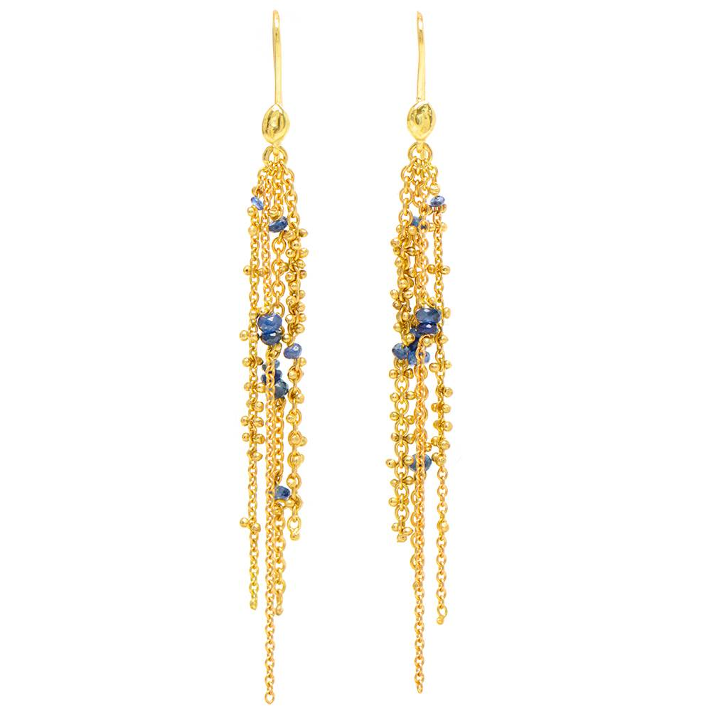 Waterfall Blue Sapphire Pin Earrings