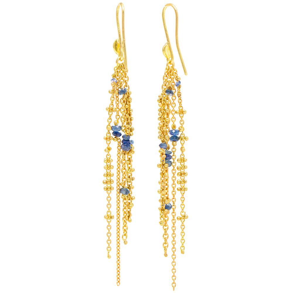 Waterfall Blue Sapphire Pin Earrings