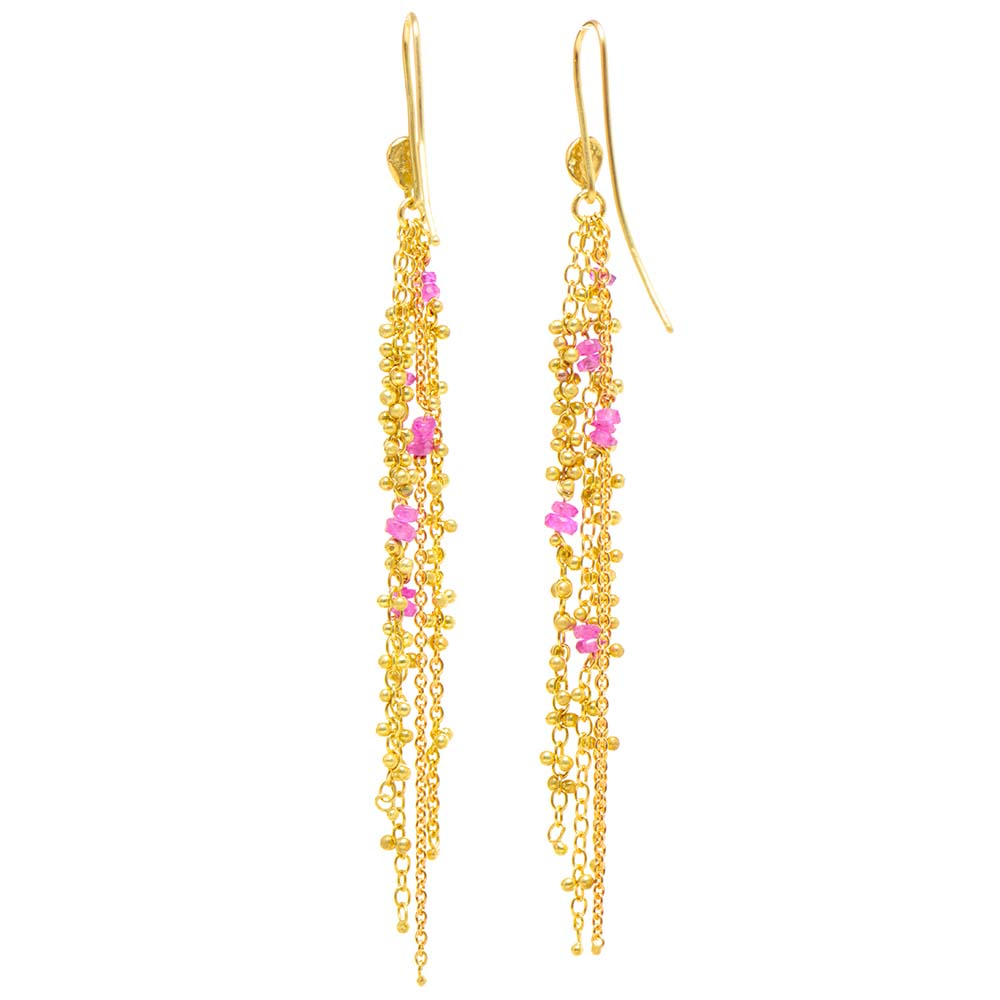 Waterfall Pink Spinel Pin Earrings