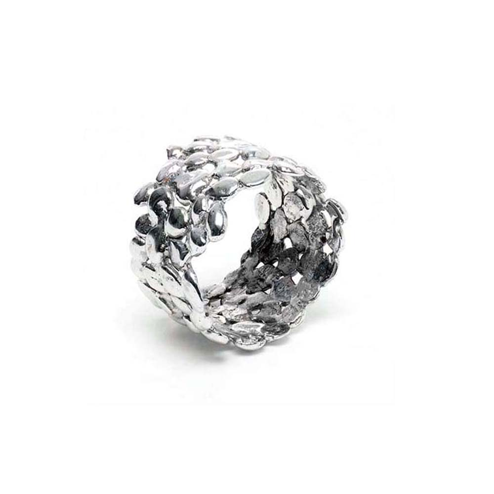 Large White Gold Cobble Nugget Ring