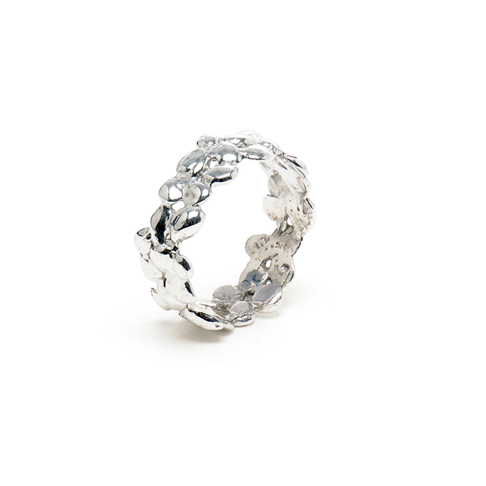 Small Silver Cobbled Ring