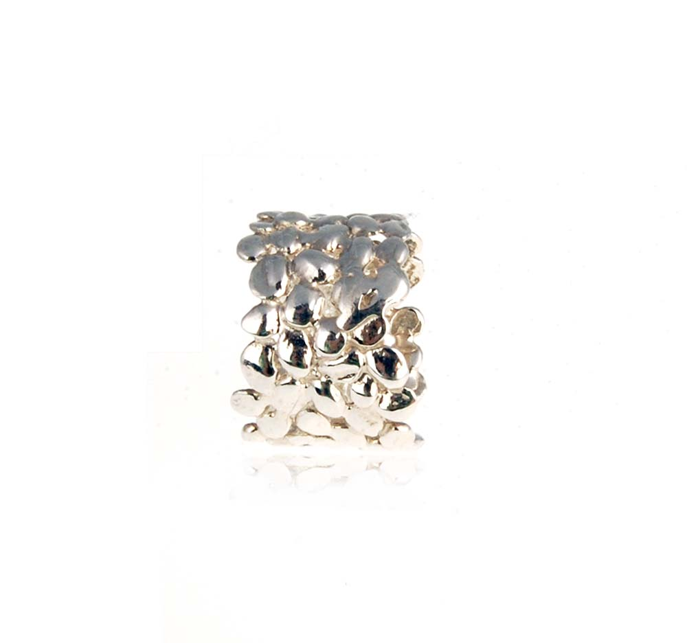 Large Silver Cobbled Ring