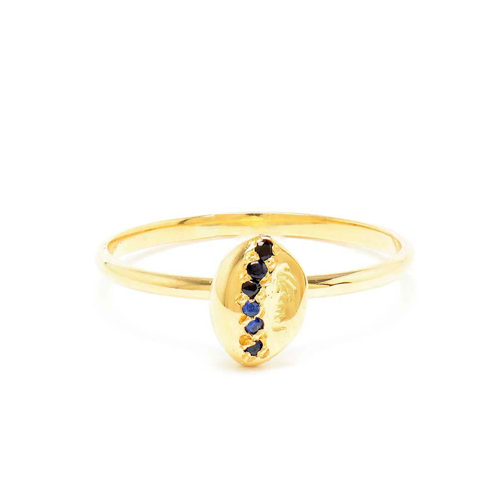 Stacking Tear Drop Nugget Blue Sapphire Ring
