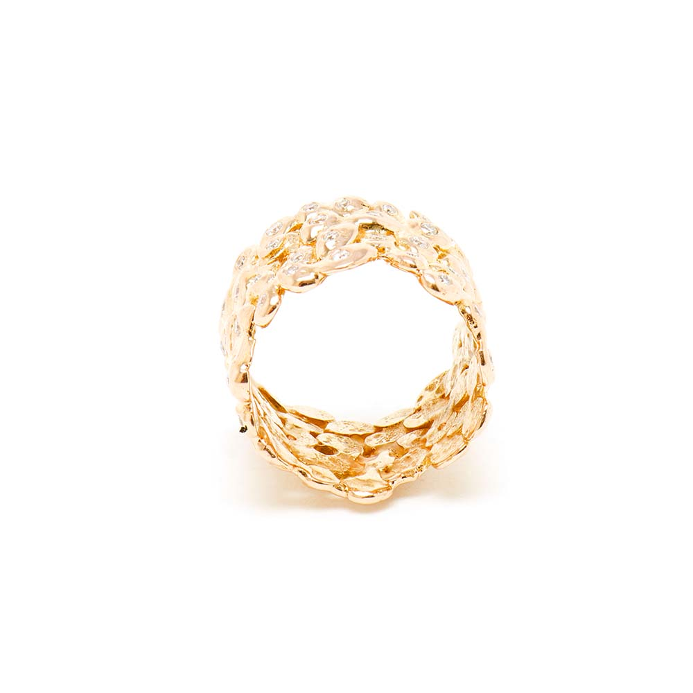 Large Rose Diamond Cobbled Nugget Ring