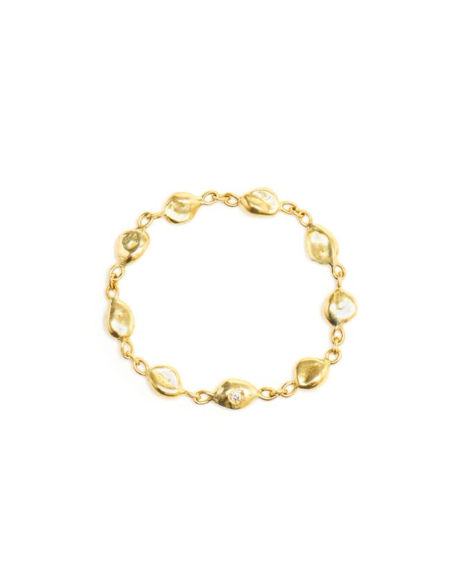 Chain Ring with Diamond in 18k Yellow Gold
