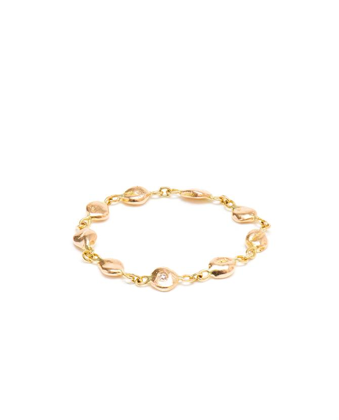 Chain Ring with Diamond in 18k Rose Gold