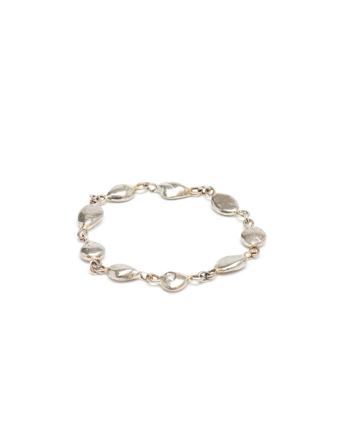 Chain Ring with Diamond in 18k White Gold