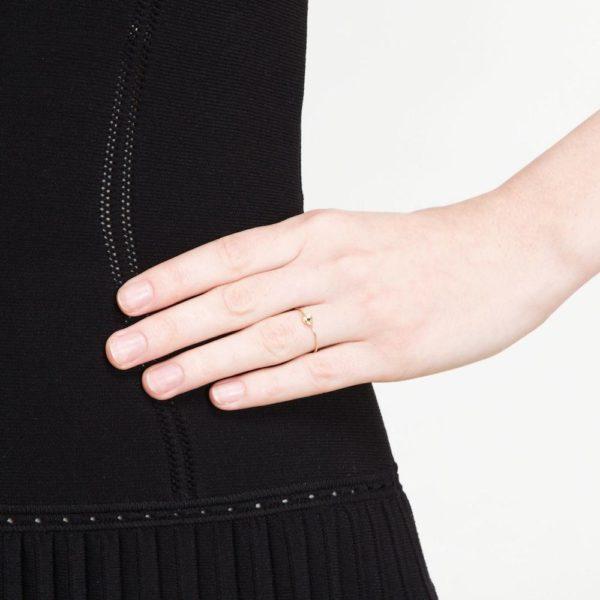 Small Nugget Black Diamond Stacking Ring