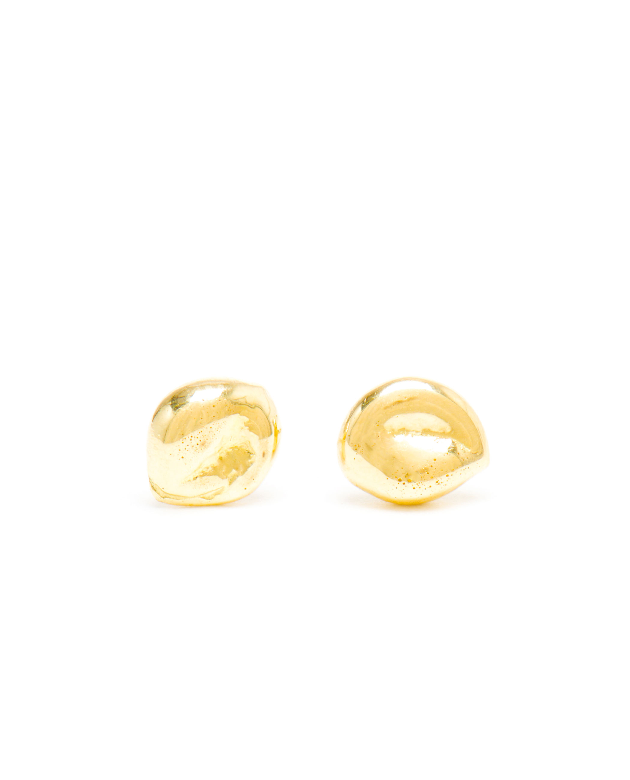 Large Nugget Plain Studs in Yellow Gold