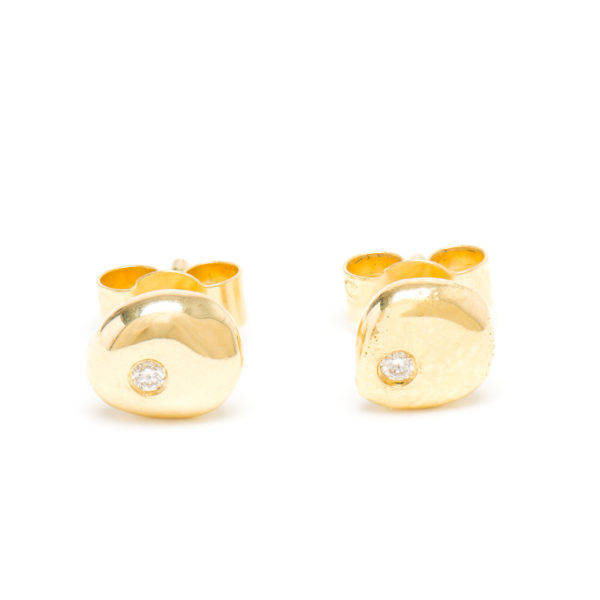 Large Nugget White Diamond Stud Earrings