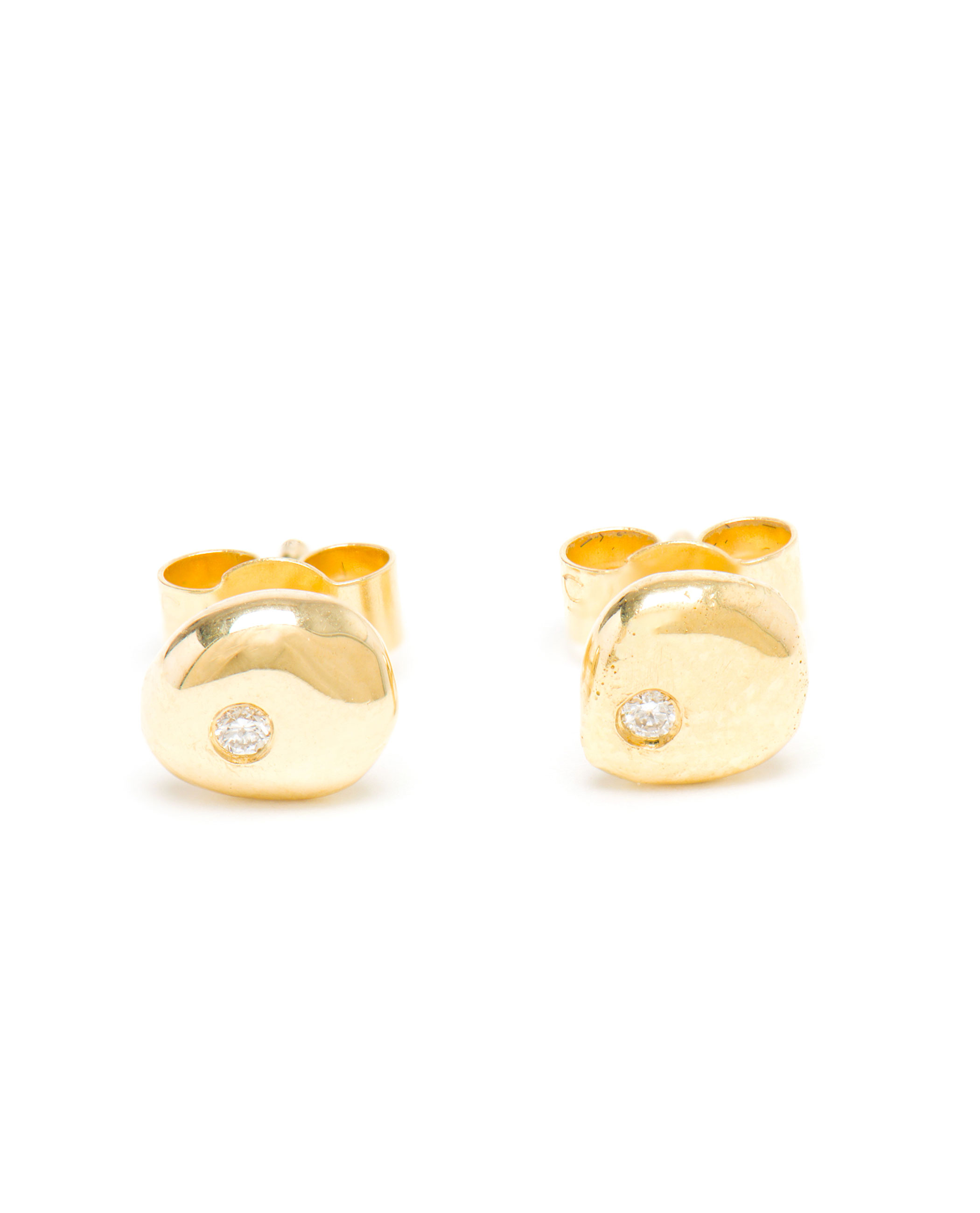 diamond cut brilliant edited gold stud jewellery white earrings