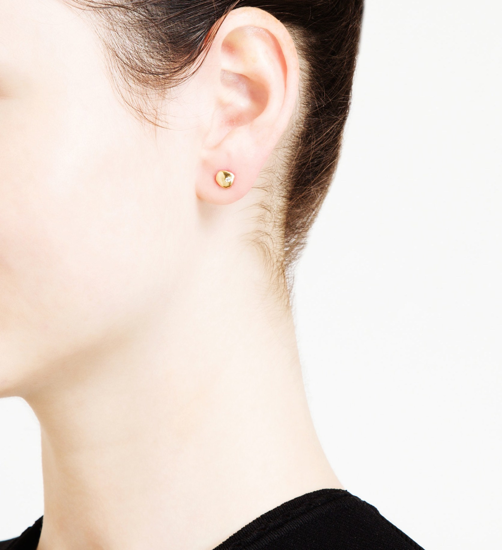 Large Nugget White Diamond Stud Earrings