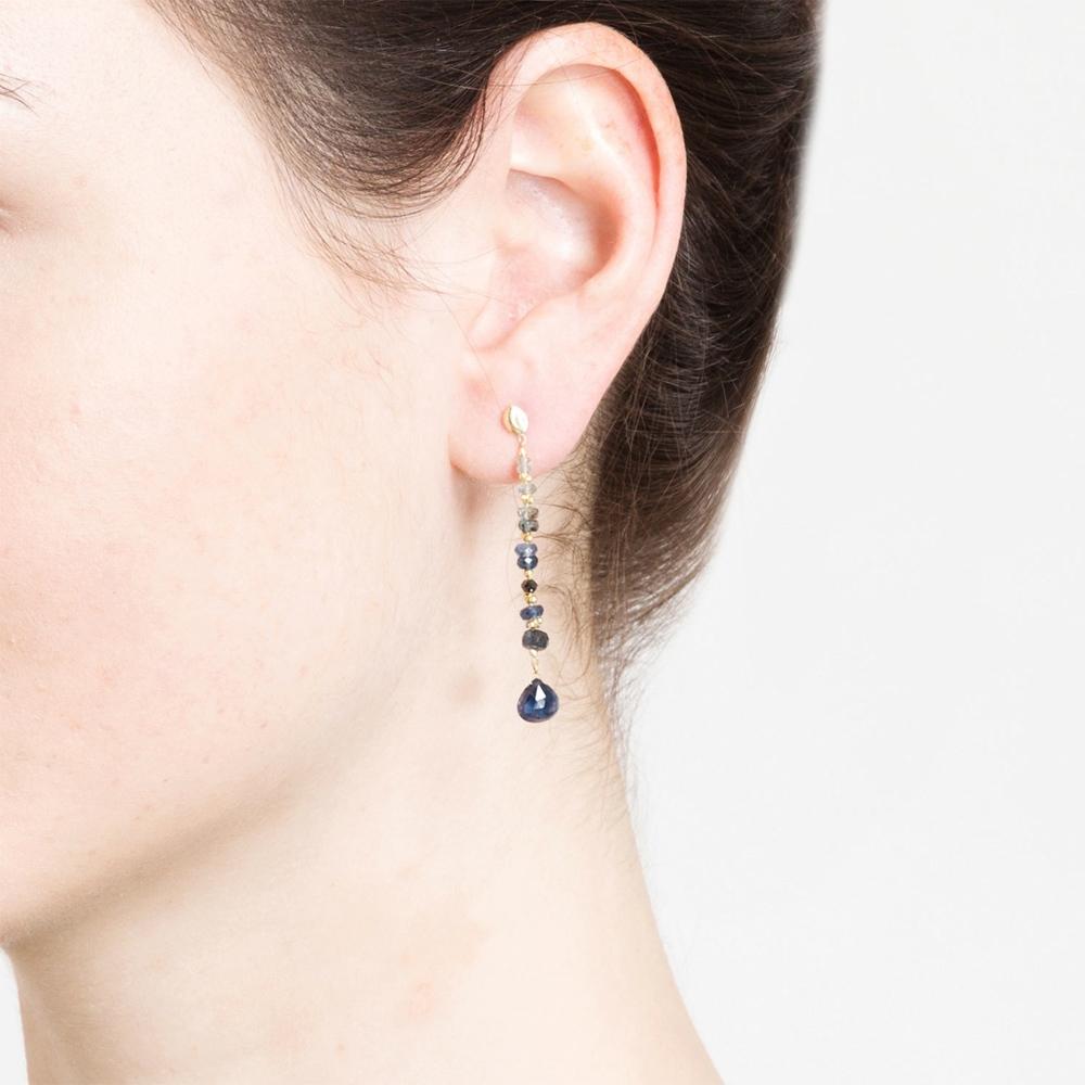 Blue Sapphire Heart Drop Studs Earrings