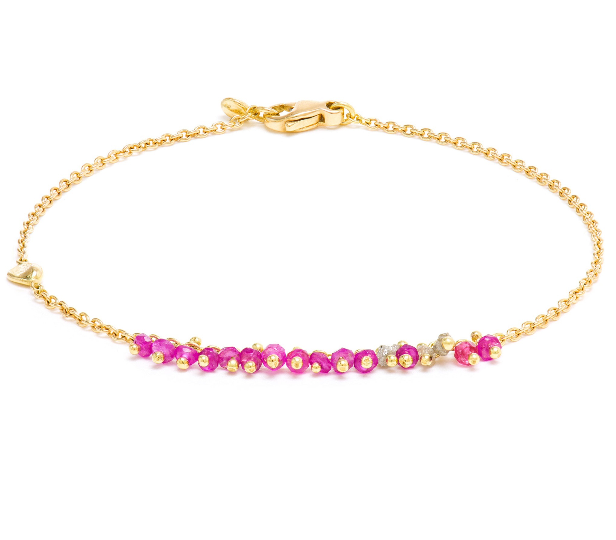 Precious Pink Spinel & Grey Diamond Nugget Bracelet