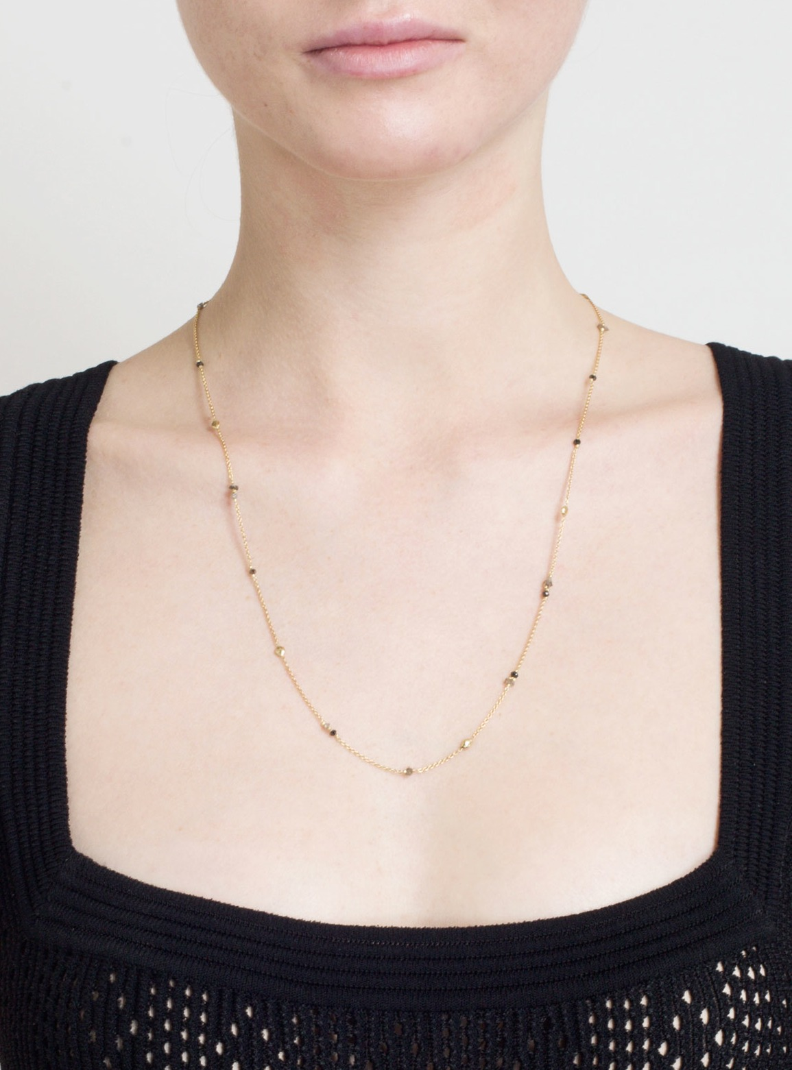 Black & Grey Diamond Nugget Single Chain Necklace