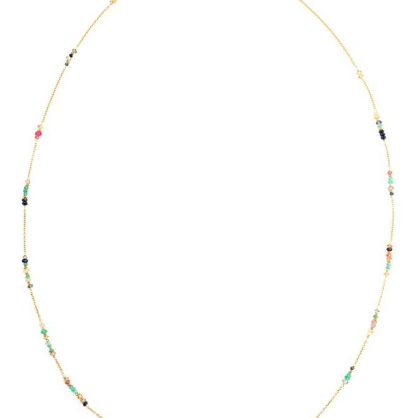 Long Green Vintage Multi-Stone Necklace
