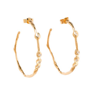 Nugget Hoop Diamond Earrings
