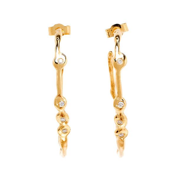 Nugget Hoop Diamond Earrings