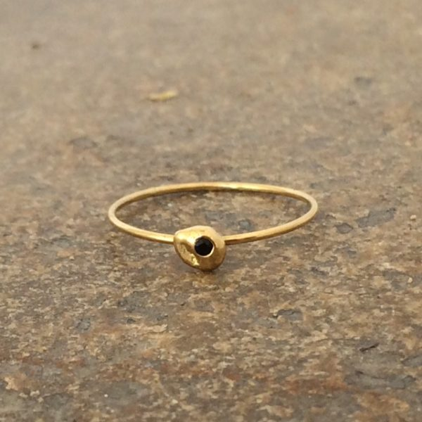 Small Nugget Black Diamond Stacking Ring