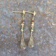 Brown Diamond and Sapphire Drop Stud Earrings