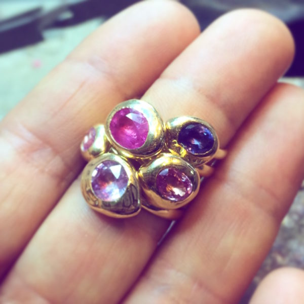 Purple Sapphire Nugget Stacking Ring