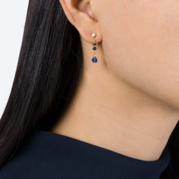 Black Diamond and Blue Sapphire Drop Stud Earrings