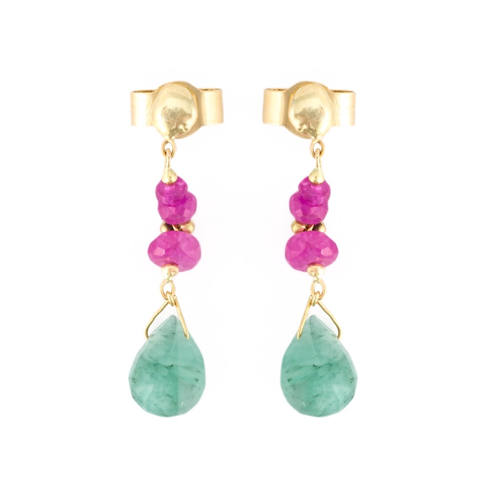 Emerald and Pink Spinel Drop Stud Earrings
