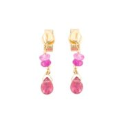 Pink Sapphire Drop Stud Earrings