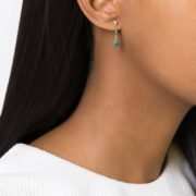 Emerald Drop Stud Earrings