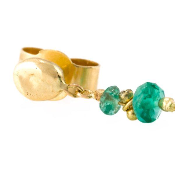 Emerald Drop Stud Earrings