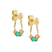 Emerald and Sapphire Loop Chain Earrings