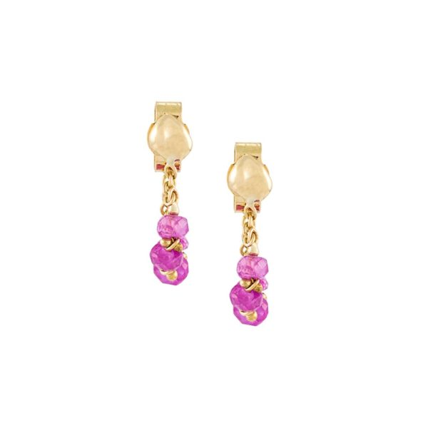 Pink Spinel Loop Chain Earrings