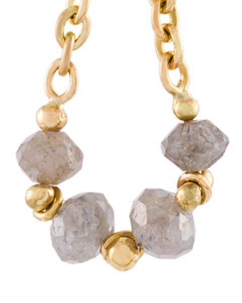 Grey Diamond Loop Chain Earrings