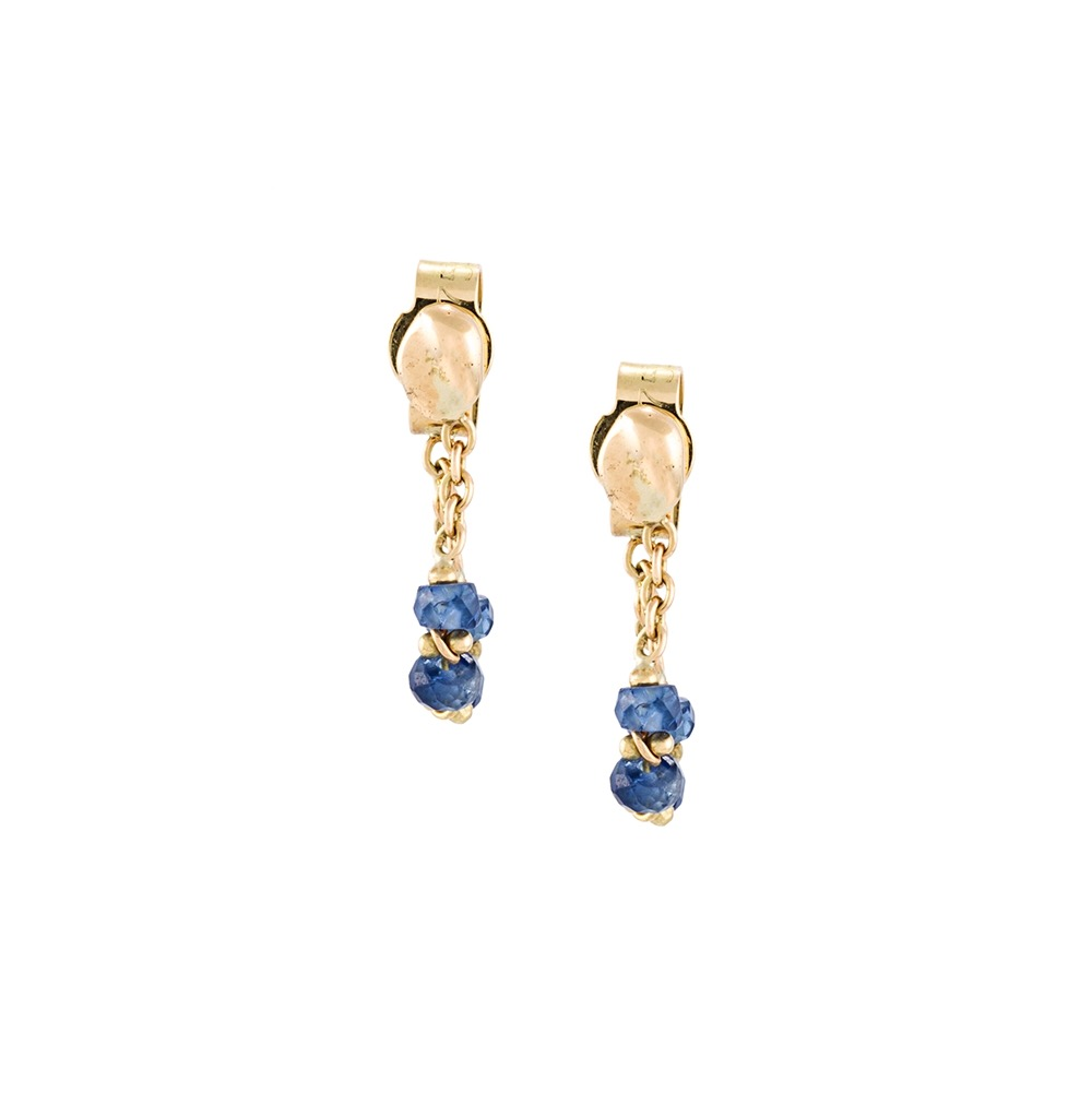 Blue Sapphire Loop Chain Earrings