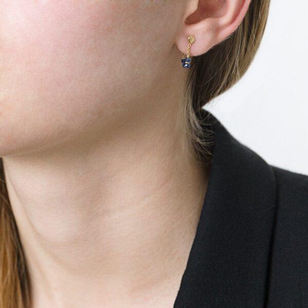 Blue Sapphire Loop Chain Earrings