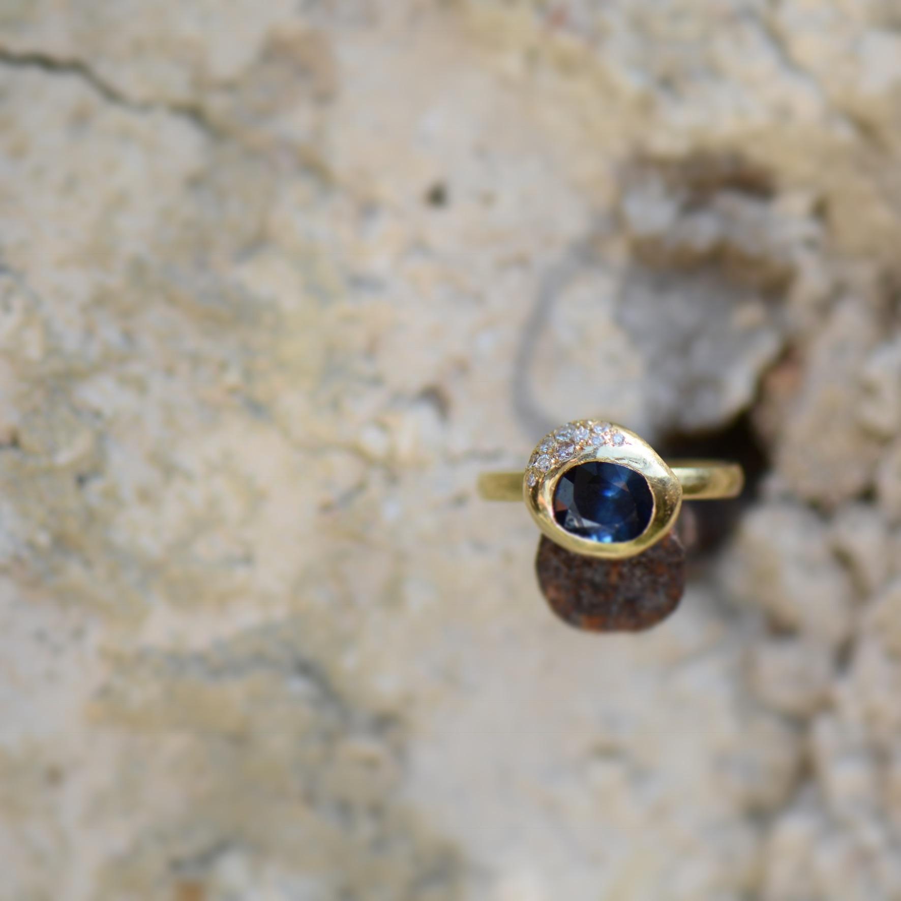 Natasha Collis Ibiza fine jewellery blue sapphire ring