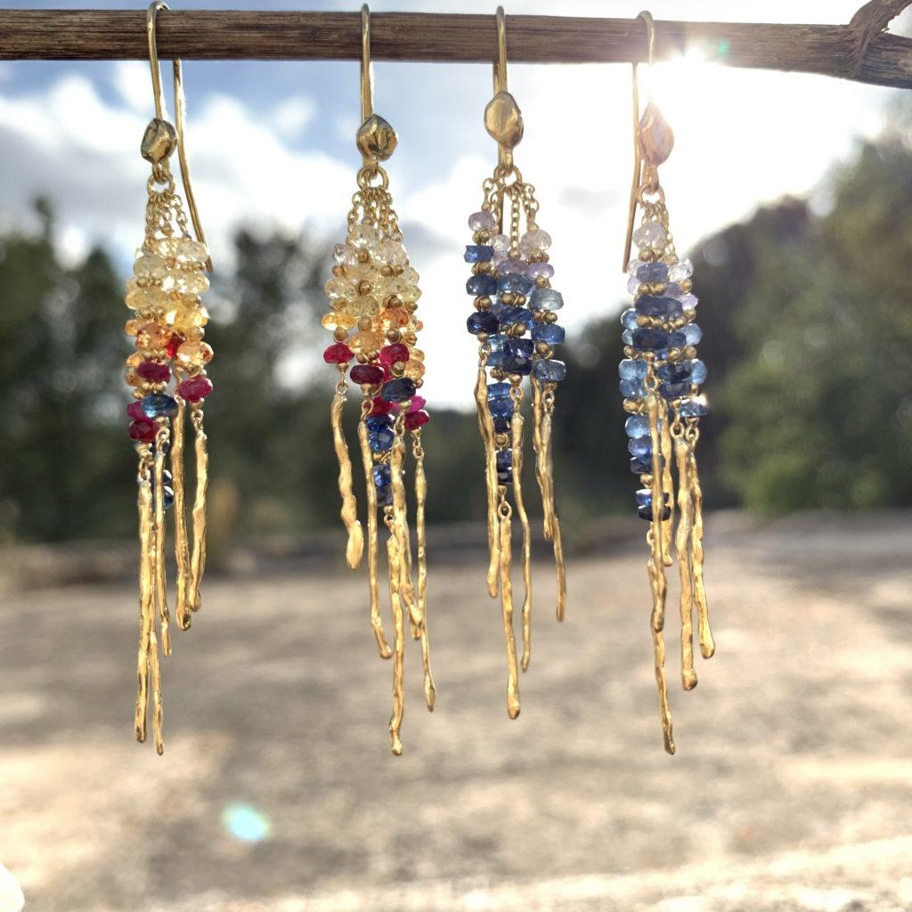 Natasha Collis Ibiza Jewellery Blue Sapphire Multi Rod Earrings
